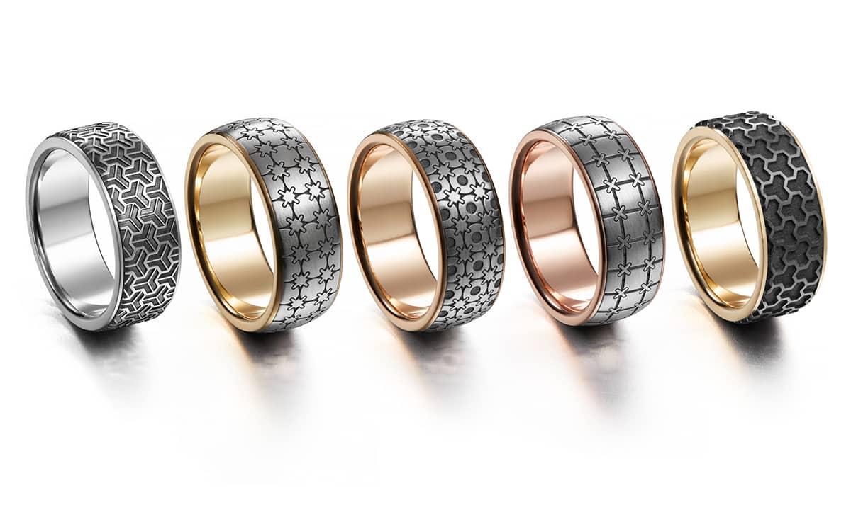 Geometriset sormukset kultaseppä petri pulliainen