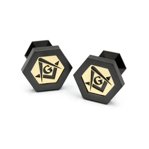 Black Mason cufflinks with yellow gold. | Mustat Vapaamuurari Kalvosinnapit keltakullalla. | Design Kultaseppä Goldsmith Petri Pulliainen.