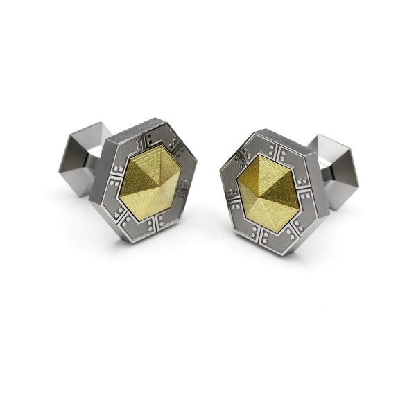 Scifi HEX-U hexagon cufflinks.| Scifi HEX-U kuusikulmaiset Kalvosinnapit. | Design Kultaseppä Goldsmith Petri Pulliainen.